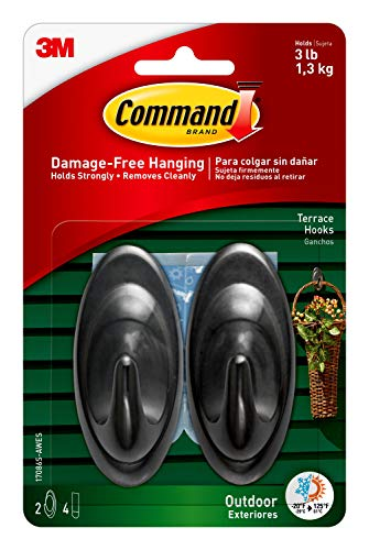 Command 17086S-AW-E Outdoor Medium Terrace Hooks, Black, 3 lb Capacity, Water-Resistant Strips, 2-Hooks, 4-Strips, Decorate Damage-Free
