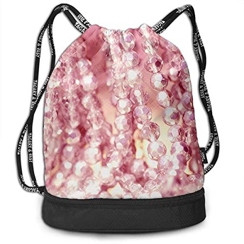 DJNGN Bündel Rucksack Pink Pearl Halskette Schmuck Print Kordelzug Taschen - Simple Gym Umhängetaschen