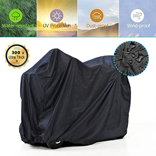 Mobility Scooter Storage Cover, 300D Oxford Fabric Scooter Weather Cover with 2 Buckles - Heavy Duty, Weatherproof, Durable with Free Storage Bag by Valchoose (Black )
