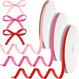 3 Rolls Valentine's Day Ribbons 0.4 Inch Red, Pink and Rose Red Single Face Ribbon Solid Color Velvet Ribbon Wedding Wrapping Ribbon for Valentine's Day DIY Crafts Decorations Making