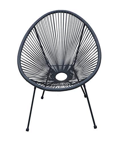 animal-design Lounge Sessel Retro Gartenstuhl Relaxsessel Indoor/Outdoor, Farbe:grau