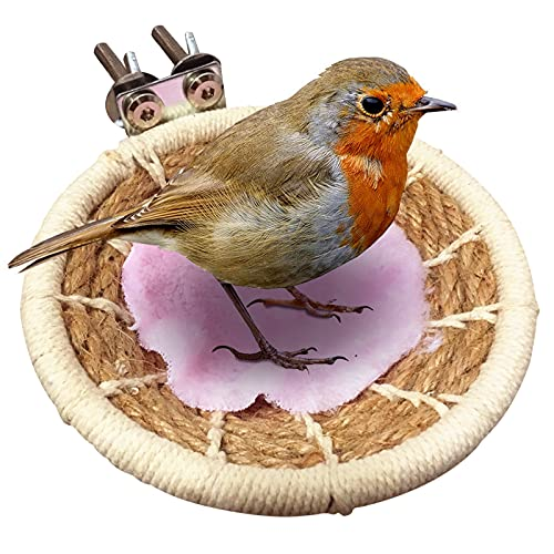 Nido de pájaro para jaula Nido de cría de aves de cuerda de cáñamo 11,5 cm Caja nido para incubar con tapete Soporte de percha de jaula Nido de pájaro para incubar para Periquito Cacatúa Canario Loro