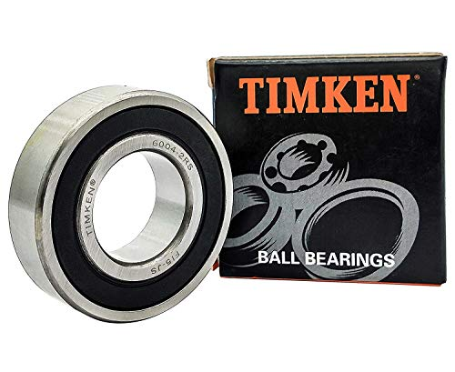 TIMKEN 6004-2RS 2 Pcs Double Rubber Seal Bearings 20x42x12mm, Pre-Lubricated and Stable Performance and Cost Effective, Deep Groove Ball Bearings.