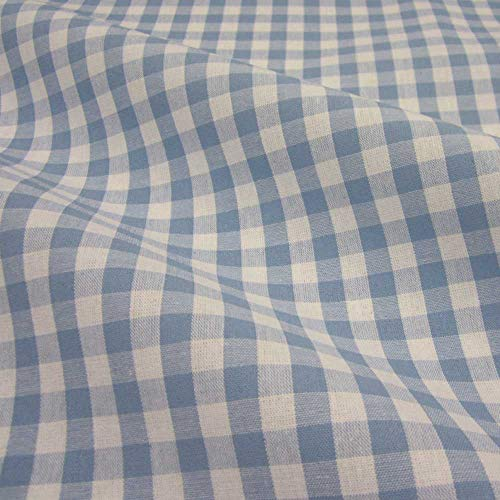 Stoff Meterware Bauernkaro hellblau weiß Karo kariert Baumwollstoff Baumwolle