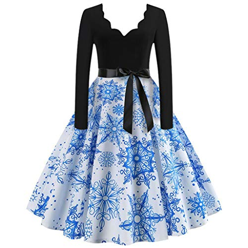 BOLANQ Weihnachtenkleid Damen Elegant Abendkleid Vintage Weihnachten Party Kleid Mesh Brautkleid Retro Cocktailkleid Rockabilly Minikleid Kleidung(Large,Blau)