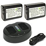 NP-FW50 Wasabi Power Camera Battery (2-Pack) and Dual USB Charger for Sony Alpha a6000, a6300, a6400, a6500, a7, a7 II, a7R, a7R II, a7S, a7S II, RX10 II, III, IV Battery (1300mAh, Micro USB Input)