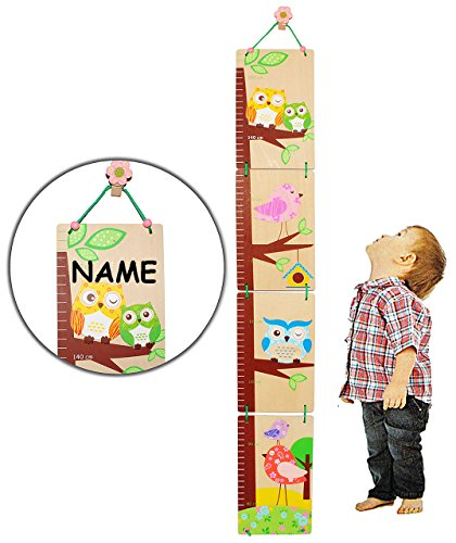 alles-meine.de GmbH 3-D Meßlatte - aus Holz -  lustige Eule  - zum Klappen / Falten - incl. Name - von 80 cm bis 155 cm - Kinderzimmer - für Kinder Kind - Eulen & Blumen - Holz..