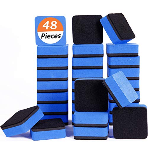 Dry Erase Erasers, 48 Pack Magnetic Whiteboard Eraser Chalkboard Eraser Dry Eraser for Classroom Office and Home (48blue)