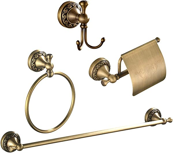 AQJD All Brass 4 Pieces Bathroom Accessory Set Including Toilet Paper Holder Towel Ring Towel Bar Robe Hook Carvings Wall Mounted Brushed Gold
