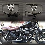 YuLi-Alforjas Negro cuero de la PU de la motocicleta universal Herramienta de equipaje alforja for Harley Davidson/Honda/Yamaha/Suzuki, Alta calidad y durabilidad (Color Name : Left and right)