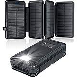 Solar PowerBank 26800mAh, Solar Ladegerät mit 4 Sonnenkollektoren, Taschenlampe, Zwei 5V 2.1A USB-Ports Externer Akku Kompatibel Für Smartphones, Tablets Outdoor Camping Ladegerät Black