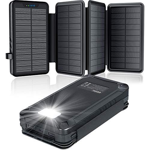 Elzle Chargeur Solaire 26800mAh, Batterie Externe Solaire avec 4 Panneaux Imperméable, Portable Power Bank avec 3 Ports USB et Lampe Outdoor Camping, pour iPhone Samsung Téléphone Tablettes et Autres