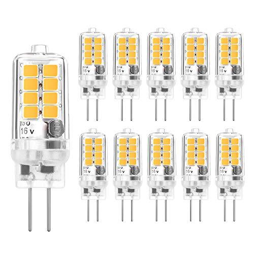 G4 LED Lampen, Yuiip LED G4 3W Warmweiß 3000K, 20W G4 Halogenlampen Ersatz,AC DC 12V, G4 Sockel Birne, G4 LED Leuchtmittel, Ra83,10er Pack