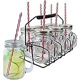 Pick&Drink KA1677 tasse COCKTAIL X6 (40CL) AVEC SUPPORT, INOX/PP/Verre, Transparent/Rouge, 11 x 8,3 x 24 cm