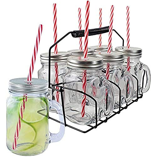 Pick&Drink KA1677 tasse COCKTAIL X6 (40CL) AVEC SUPPORT, INOX/PP/Verre, Transparent/Rouge, 11 x 8,3 x 24 cm