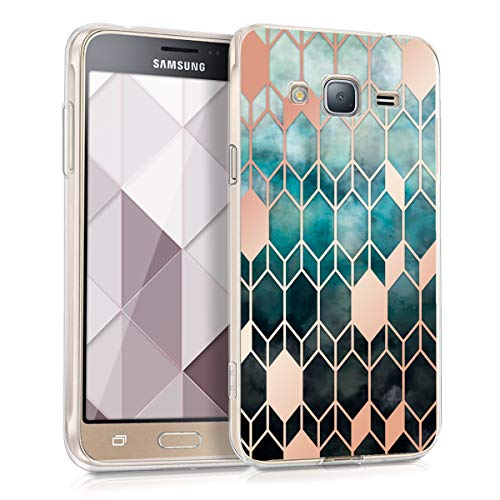 kwmobile Hülle kompatibel mit Samsung Galaxy J3 (2016) DUOS - Handyhülle - Handy Hülle Glory Blau Rosegold