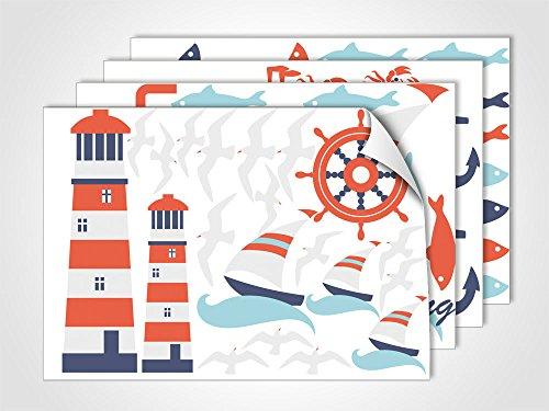 GRAZDesign Fenstersticker Maritim Feeling Fensterfolie Bunte Aufkleber Glasdekor für Badezimmer (DIN A4 (4Stück))