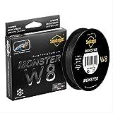 STARKWALL Nuevo Super Monster W8 Súper Fuerte 300m 8 Hebras Weaves PE Trenzado Pesca Línea Cuerda Multifilamento 20lb 30lb 40lb 50lb 80lb 100l 1,0 Negro