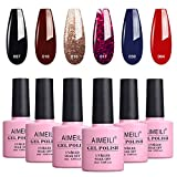 AIMEILI Gel Nail Polish Soak Off UV LED Gel Nail Lacquer, Winter Collection Black Wine Red Blue Glitter Color Gel, Set Of 6pcs X 10ml - Kit Set 21