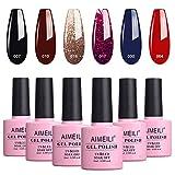 AIMEILI Gel Nail Polish Soak Off UV LED Gel Nail Lacquer Combo Color Set Of 6pcs X 10ml - Kit Set 21