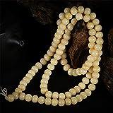 LEIGAGA Pulsera de Cuentas de Camello Liso al Aceite Natural Budista 108 Oración Mala para Mujeres u Hombres DIY Accesorios de joyería Tallado Artesanal12 mm