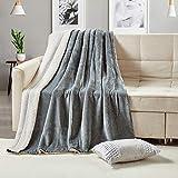 softan Sherpa Throw Blanket Super Soft Non Shedding Reversible Ultra Luxurious Plush Blanket (50 X 60 inches, Grey)