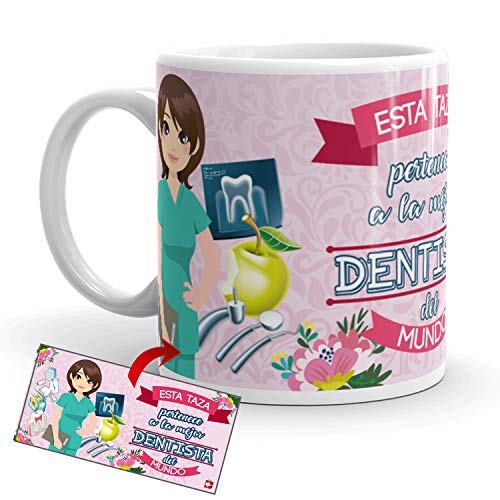 Kembilove Taza de Café de la Mejor Dentista del Mundo – Taza de Desayuno para la Oficina – Taza de Café y Té para Profesionales – Taza de Cerámica Impresa – Tazas de 350 ml para Dentistas