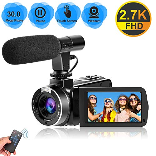 Camcorder Videokamera für YouTube, Vlogging Kamera mit Mikrofon 2,7K Ultra HD 30MP 18X Digitalzoom 270 Grad drehbarer Touchscreen Video Camcorder unterstützen die Fernbedienung