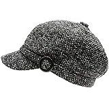 MIRMARU Women's Classic Visor Baker boy Cap Newsboy Cabbie Winter Cozy Hat with Comfort Elastic Back (Marled Charcoal)