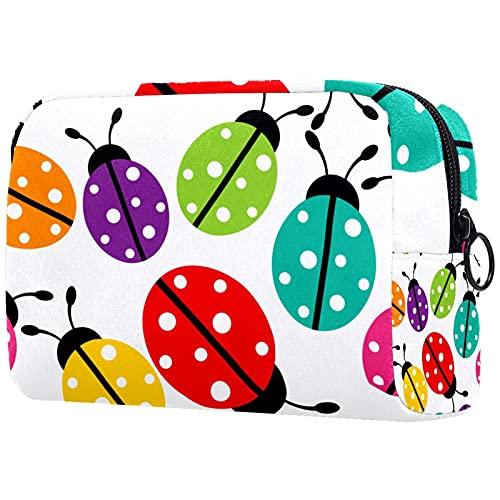 Borsa da viaggio da toeletta, impermeabile, borsa da viaggio per donne e ragazze, motivo a coccinelle di insetti, 18,5 x 7,5 x 13 cm