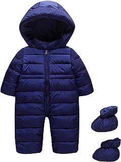 JiAmy Bebé Traje de Nieve con Botines Invierno Mameluco con Capucha Conjunto de Ropa Mono Trajes de Espesor Azul 12-18 Meses