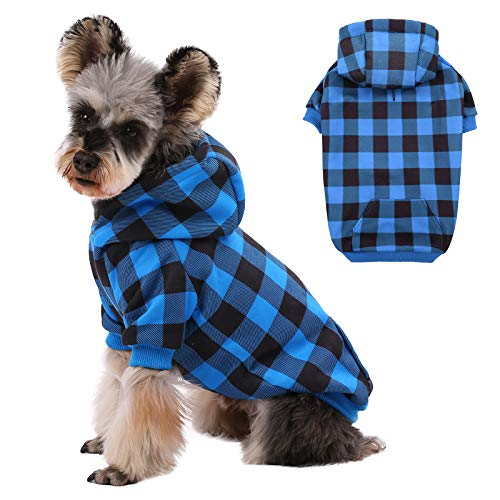 Kuoser Dog Hoodie Dog Sweaters with Hat, Classic Plaid Dog Warm Jacket Pet Clothes Sweaters Windproof Puppy Pullover Pet Winter Clothes for Small and Medium Dogs Cats with Harness Hole