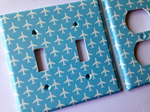 Blue Airplane Light Switch Cover All Size Light Switchplates Offered