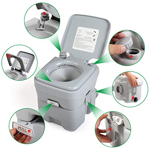 JAXPETY Upgraded 5.3 Gallon 20L Flush Camping Toilet Travel Portable Toilet for Car, Boating, Camping (20L Gray)