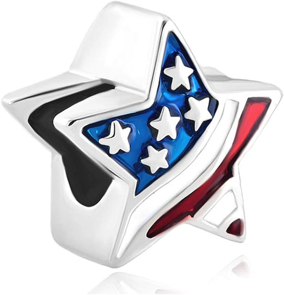 American Flag Star Charm Beads for Bracelets