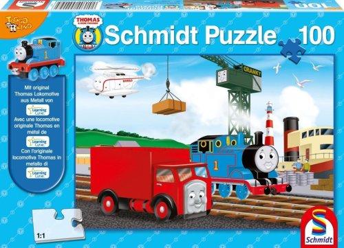 Schmidt Spiele 55409–Puzzle, Thomas y Sus Amigos, en la estación umlade, 100Piezas + Figura Thomas