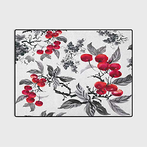 Rowan Living Room Rug Kitchen Rugs Artwork of Mountain Ash Plants Watercolor Painting Style Shrubs Forest Foliage Carpet Comfy Bedroom Home Decorate Floor Kids Playing Mat Ruby Grey Black 6.5 x 8 Ft
