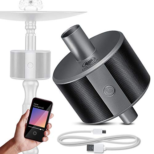 DILAW® Shisha ECO Bluetooth Speaker Hookah SoundBar Mini Bluetooth Lautsprecher, 80dB Kabellose Tragbare Wasserpfeife Musikbox mit 24 Farbige LED 10m Bluetooth Reichweite 350 mAh, Grau