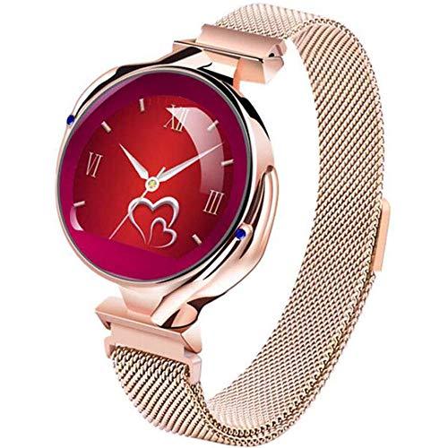 JSL Reloj inteligente para mujer, impermeable, Bluetooth, con Bluetooth, frecuencia cardíaca, presión arterial