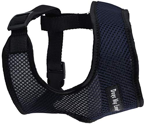 Dogs My Love Soft Mesh Walking Harness for Dogs and Puppies 6 Sizes Blue (M (Neck Max: 13