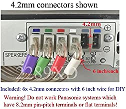 4.2mm Speaker Wire Connectors(Plugs) for Select Panasonic Home Theater; 6 PCs, 6 inch/Each; Color Coded;