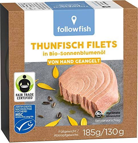 followfish MSC Fair Trade Thunfisch Filets in Bio-Sonnenblumenöl, 185 g