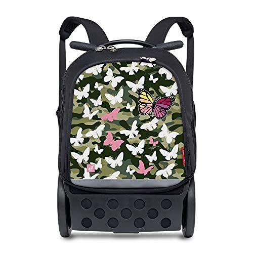 Nikidom - Zaino per Bambini - Roller Up Butterfly Camo - 52 x 32,5 x 21 cm - Zaino Resistente - Unisex - Zaino con Ruote Qualità Premium - Base Rinforzata - Zaino Scuola Bambini