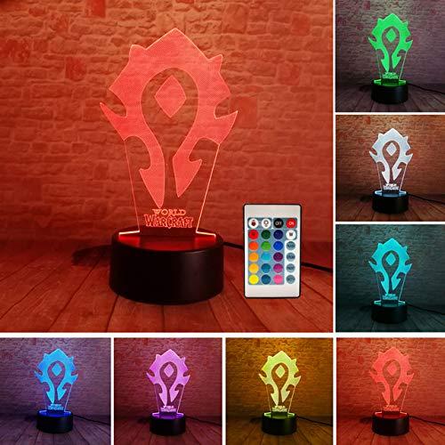 3D Illusion WOW World of Warcraft Tribal Signs 7 colores Mesa de escritorio Lámpara de luz nocturna Kiddie Niños Familia Vacaciones Navidad Deco
