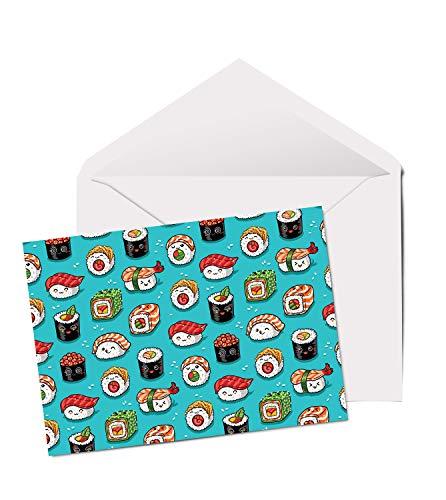 Cool Sushi Rolls – A5 blanko Grußkarte zum Geburtstag, japanisches Essen #14475