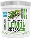 LivPuri Lemongrass Körperpeeling Meersalz 500g Natürliches Hautpeeling mit Jojobaöl - Ideal in der Dusche, Badewanne, Dampfbad und Sauna anwendbar