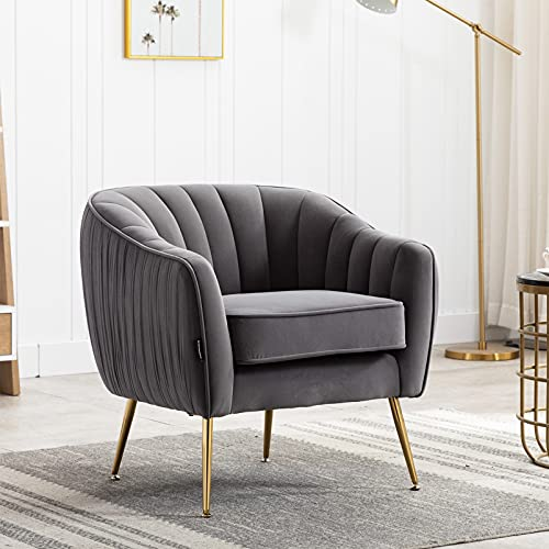 Artechworks Velvet Armchair Accent Tub Chair Padded Tufted Occasional Leisure Sofa Chair with Gold Metal legs,Scalloped Modern Club Lounge Chair for Adults,Living room,Bedroom,Home Office,Grey
