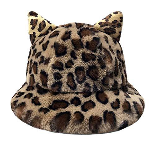 Elegante sombrero de cubo, mujeres invierno espesante borroso peluche bucket sombrero coreano lindo dibujos animados gato orejas leopardo color sólido al aire libre cálido plegable pescador gorra arco