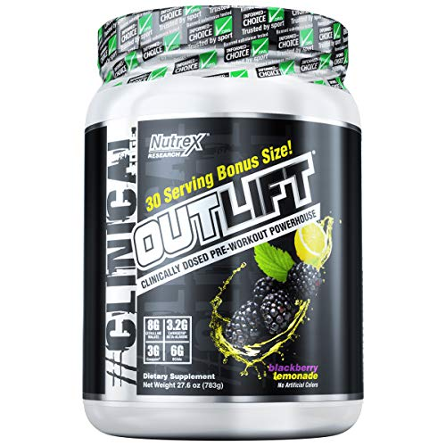 Nutrex Research Oulift Bonus Size | Clinically Dosed Pre-Workout Powerhouse, Citrulline, BCAA, Creatine, Beta-Alanine, Taurine, Banned Substance Free |BlackBerry Lemonade|30 Servings