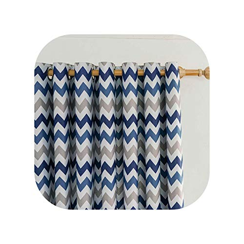 FAT BIG CAT Printed Geometric Wave Blackout Curtains Drapes Curtains for Living Room Yellow Modern Bedroom Kitchen Curtains,Blue,Custom Made,5.Pull Pleated Tape